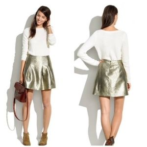 Madewell Gold Metallic Shimmer Mini Pleated Skirt